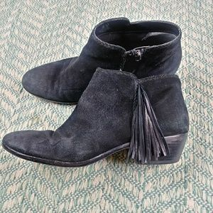 Sam Edelman Black Paige Fringe Zip Booties. 11